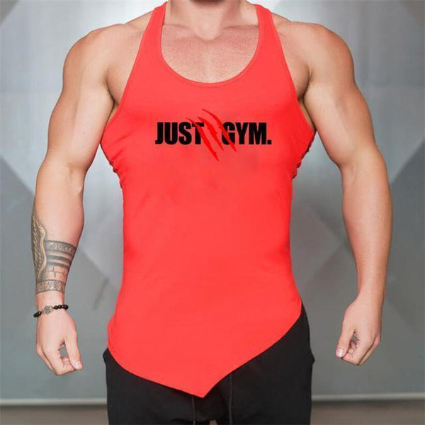 PINkart-USA Red / L Men Bodybuilding Tank Tops Gyms Sleeveless Shirts Fitness Clothing Singlet Cotton Summer Fashion