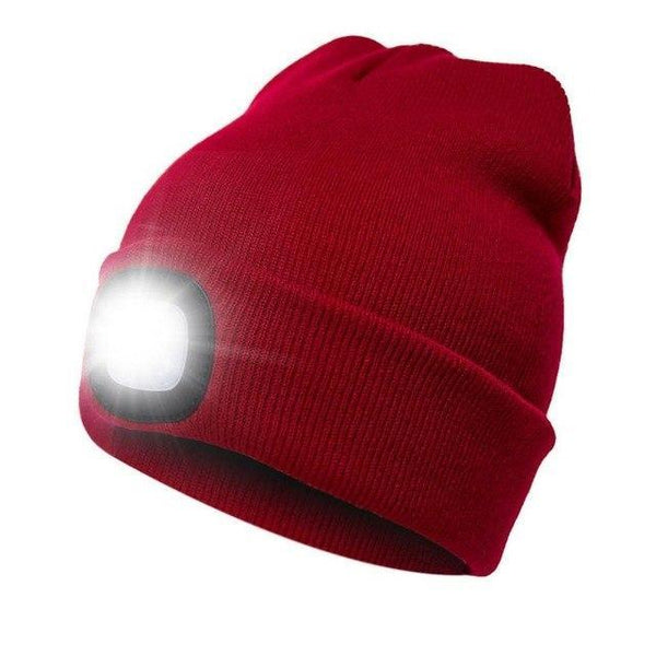 PINkart-USA Red Led Headlamp Beanie Cap Rechargeable Lighted Hat With Led Head Light Flashlight For Outdoor Evening