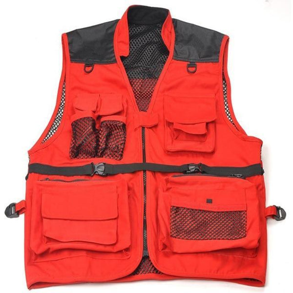 PINkart-USA red / M Fashion Fisherman Clothes Tactical Military V Director Photographers Casual V Breathable Multi
