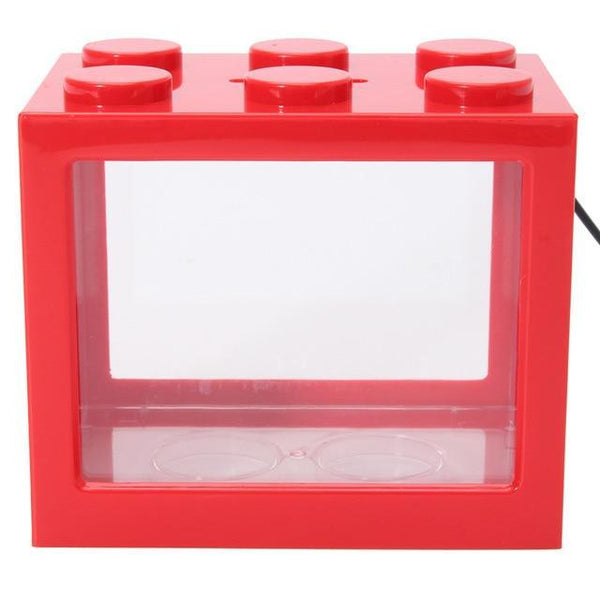 PINkart-USA Red / M Usb Mini Fighting Fish Box Aquarium Led Transparent Acrylic Fish Tank Office Desktop Decoration