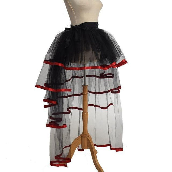 PINkart-USA Red / One Size / China Women Mesh Tulle Bustle Skirt Steampunk Victorian Party Tutu Ruffle Tiered Skirts Dance Stage