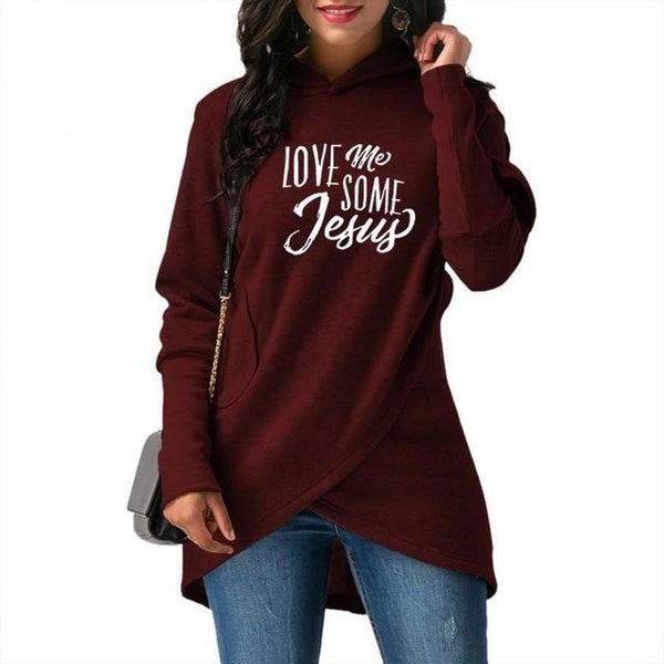PINkart-USA Red / S Fashion Love Me Some Jesus Print Tops Hoodies Women Sweatshirts Corduroy Youth Pattern Girls