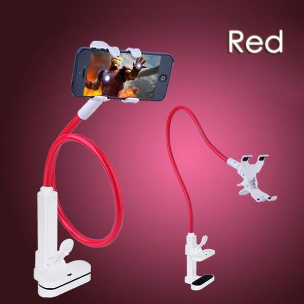 PINkart-USA Red Universal Bed Desk Cell Phone Holder Long Arm Bendable Mount 360 Degree Rotatable Stand For Iphone 5 6 7 7S Samsung S5 S6 S7 S8