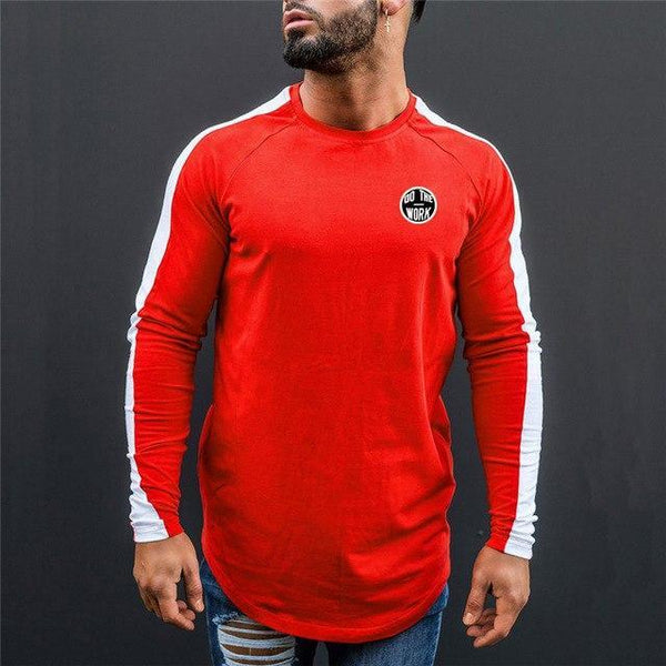PINkart-USA red white / L Men Spring Fashion Casual T Shirt Crossfit Fitness Bodybuilding Muscle Male Long Sleeves Slim Fit