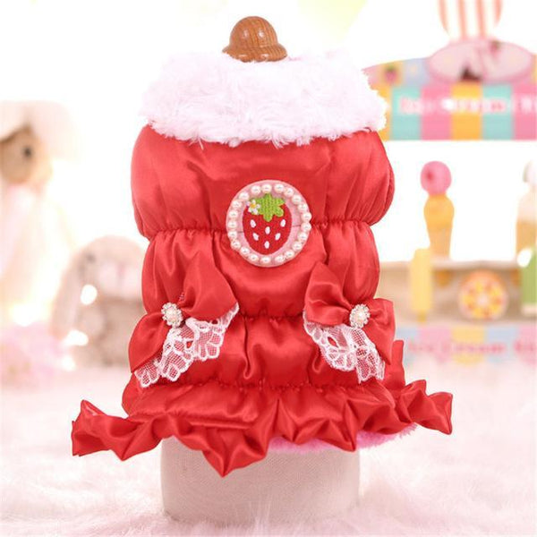 PINkart-USA red / XS Luxury Princess Dog Coat Warm Winter Pet Down Jacket Cute Dog Clothes For Small Dogs Strawberry