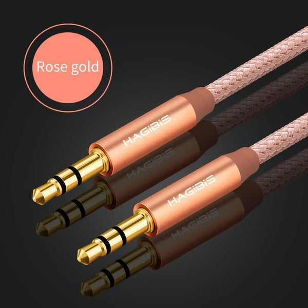 PINkart-USA Rose gold / 1m 3.5Mm Jack Audio Cable Gold Plated Plug Aux Cable Male To Male For Car Iphone Mp3/Mp4 Headphone