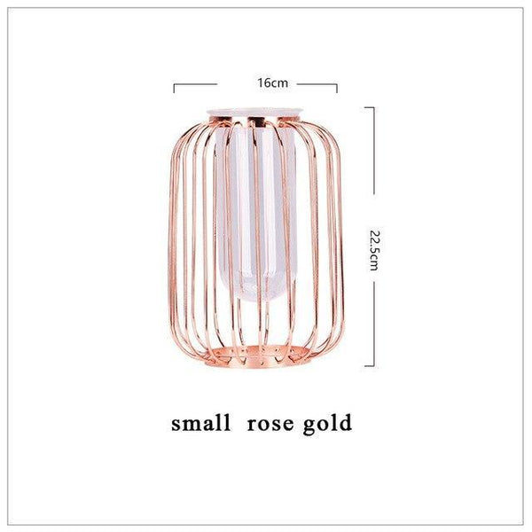 PINkart-USA Rose Gold S Nordic Style Lantern-Shaped Vase Luxury Glass Iron Art Vase Test Tube Water Culture Flower Vases