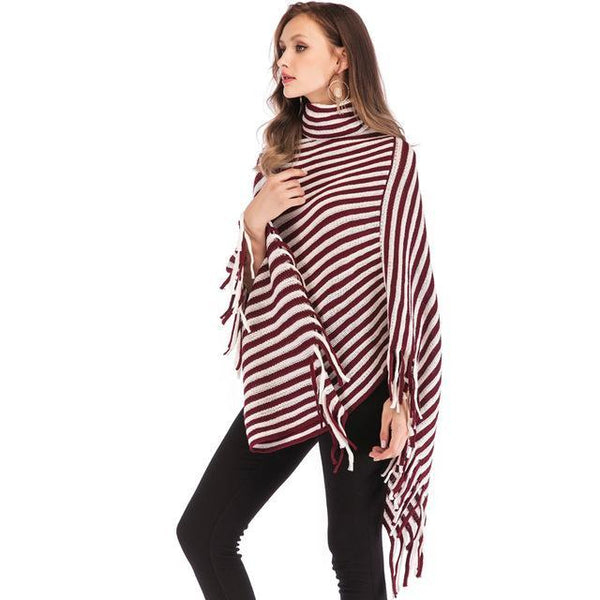 PINkart-USA rose red / China Sweater Women Fashion Black White Oblique Stripes High Collar Cloak Sweaters Europe And The