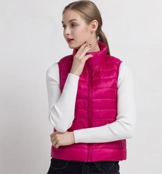 PINkart-USA Rose red / S Women Vs Winter Ultra Light White Duck Down V Female Slim Sleeveless Jacket Women'S Windproof