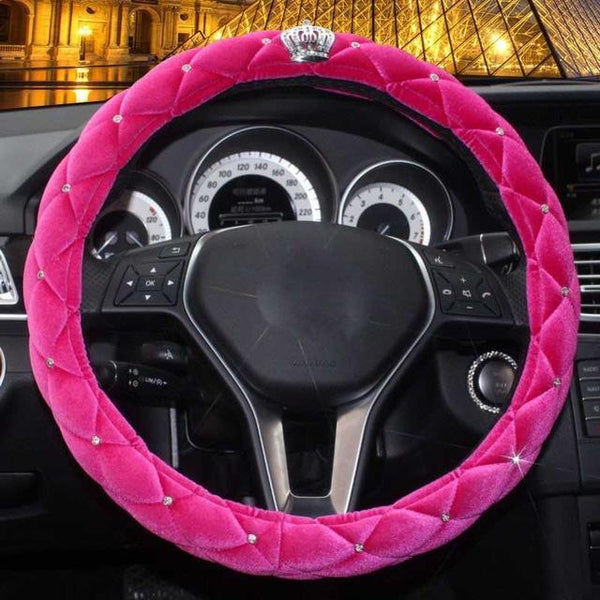 PINkart-USA rose red Winter Steering Wheel Cover Diamond Crystal Crown Auto Plush Fur Steering-Wheel Covers Cases