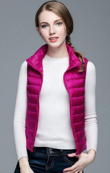 PINkart-USA Rose / S Winter Women 90% White Duck Down V Women'S Ultra Light Duck Down V Jacket Autumn Winter