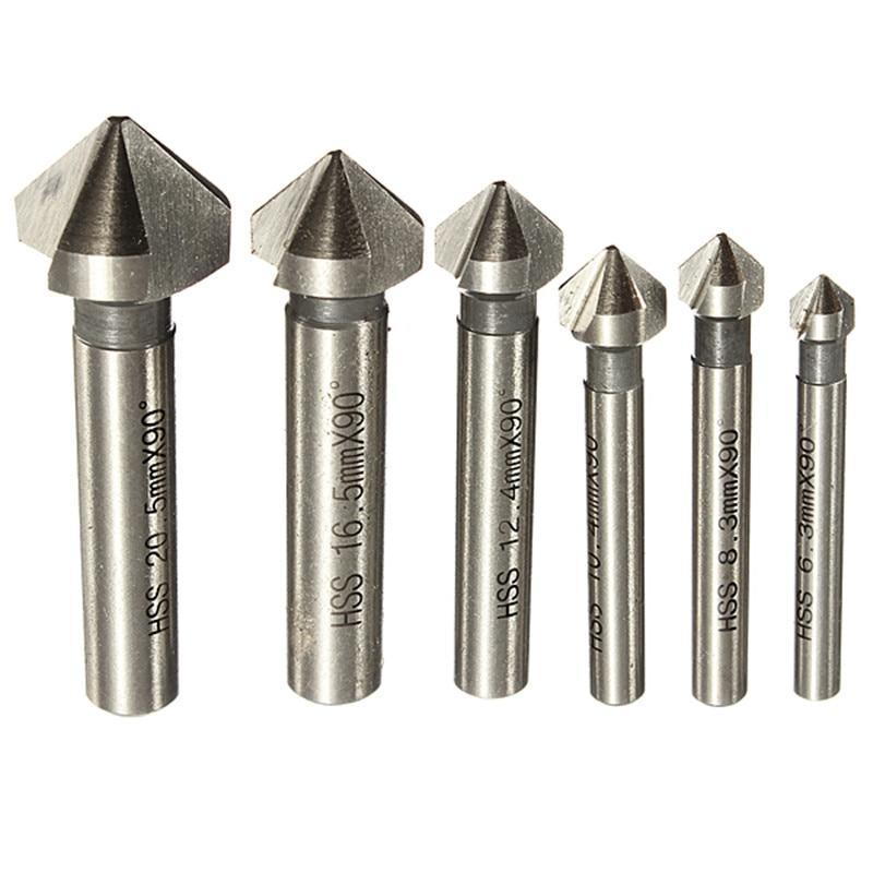 Round Shank 6Pcs 3 Flute 90 Degree Hss Chamfer Chamfering Cutter End Mill Tool Countersink Drill
