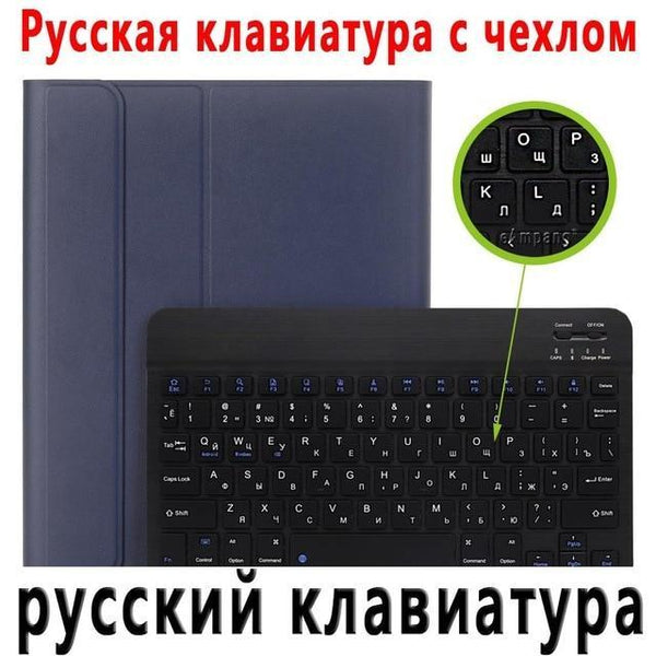 PINkart-USA Russian Keyboard 2 / China For iPad 2018 Keyboard Case with Pencil Holder for iPad 9.7 2017 2018 5th 6th Generation Bluetooth Russian Spanish Keyboard Case
