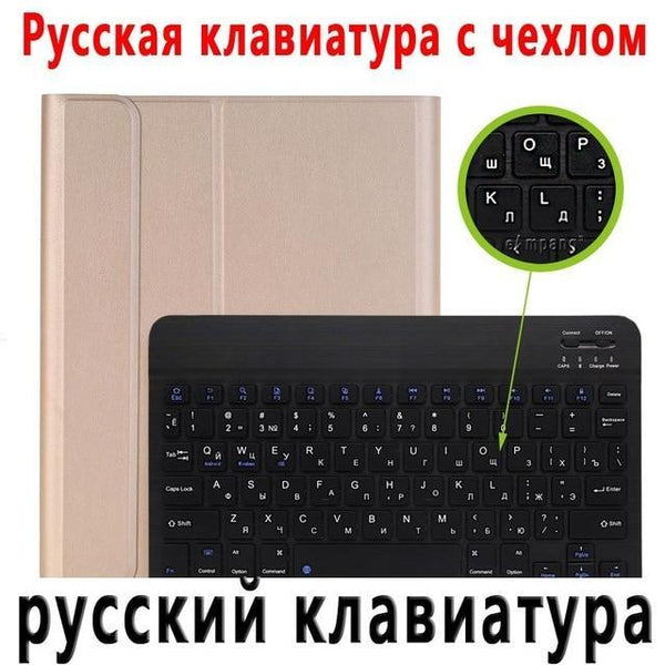 PINkart-USA Russian Keyboard 3 / China For iPad 2018 Keyboard Case with Pencil Holder for iPad 9.7 2017 2018 5th 6th Generation Bluetooth Russian Spanish Keyboard Case