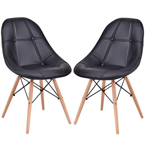 PINkart-USA Set Of 2 Dining Side Chair Modern Armless Pu Leather Seat With Wood Legs Black Leisure Dining