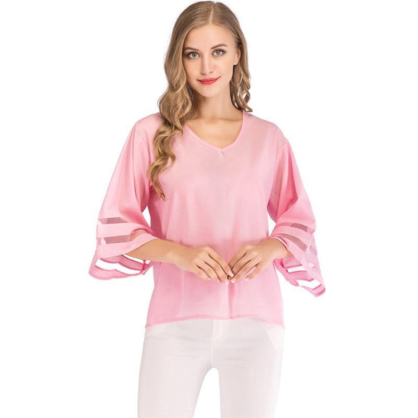Sexy V Neck Casual Loose Blouse Solid Tops Women Chiffon Shirt Summer Flare Sleeve Mesh Patchwork