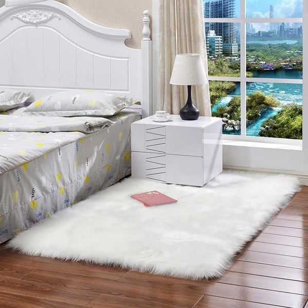 PINkart-USA Sheepskin Rug Artificial Wool Warm Hairy Carpet Rectangle Seat Pad Fur Throw Rugs Mat For Bedroom