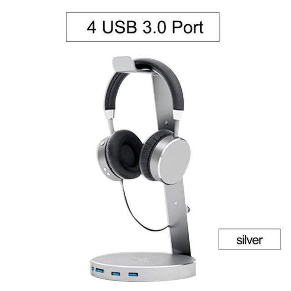PINkart-USA Silver Hagibis Usb 3.0 Earphone Hanger Headset Headphone Stand Holder With 4 Ports Of 3.0 Usb Hub
