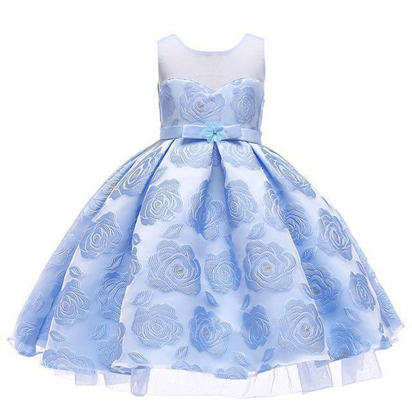 PINkart-USA Sky Blue / 3T Kids Girls Flower Dresses Christmas Party Dress 2 3 4 5 6 7 8 9 10 Year Birthday Outfits Dresses