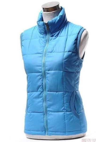 PINkart-USA Sky blue / L Autumn Winter Women Cotton V Collar Warm Down Coat Women Warm Cotton Jacket Designer Sleeveless