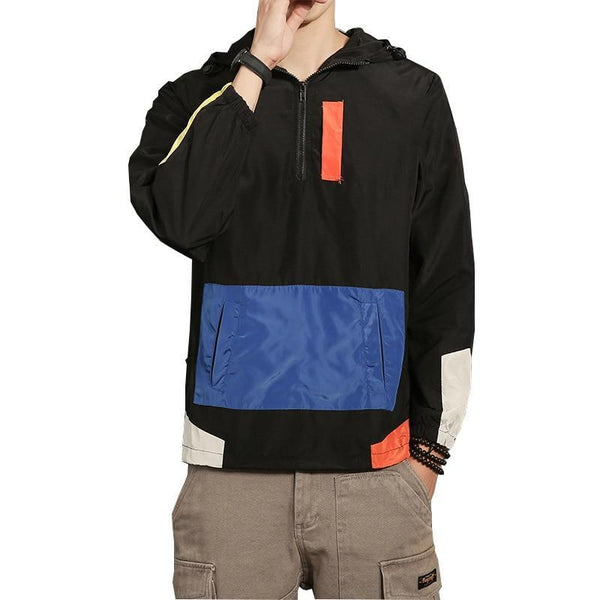 PINkart-USA Sping Jackets Men Patchwork Anorak Jacket Fashion Hip Hop Plus Size College Student Windbreaker