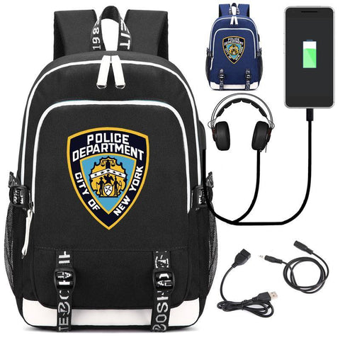 PINkart-USA style1 black Nypd New York City Police Department Backpack With Usb Charging Port And Lock &Headphone