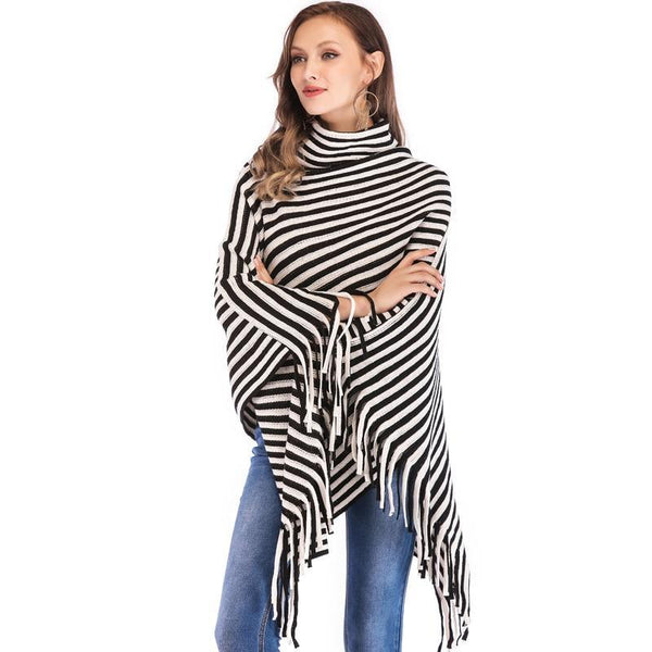 PINkart-USA Sweater Women Fashion Black White Oblique Stripes High Collar Cloak Sweaters Europe And The