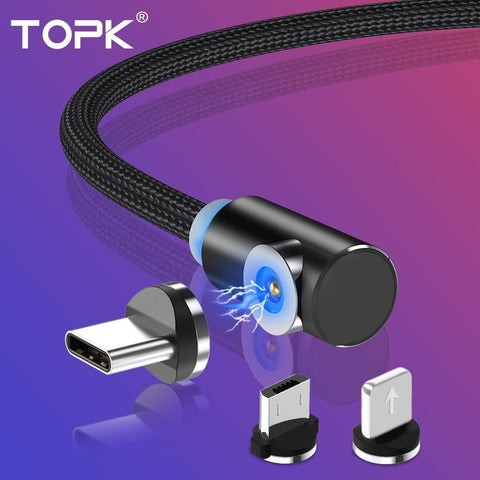 PINkart-USA Topk L-Type Magnetic Usb Cable For Iphone Charger Micro Usb Type C For Samsung Galaxy S9 S8 Plus