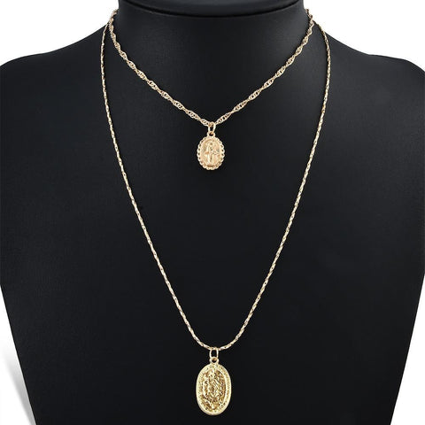 Trendy Fashion Religious Style Multi Chain Necklace Gold Vintage Virgin Mary Pendant Necklace For