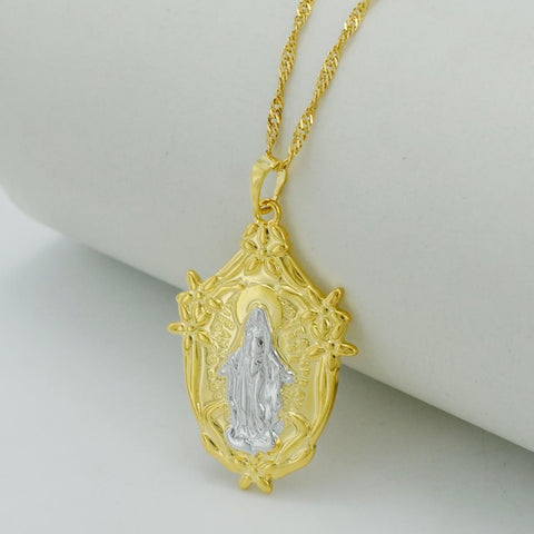 PINkart-USA Two Tone Madonna Virgin Mary Necklaces Gold Color Goddess Jewelry Catholic Pendant Women
