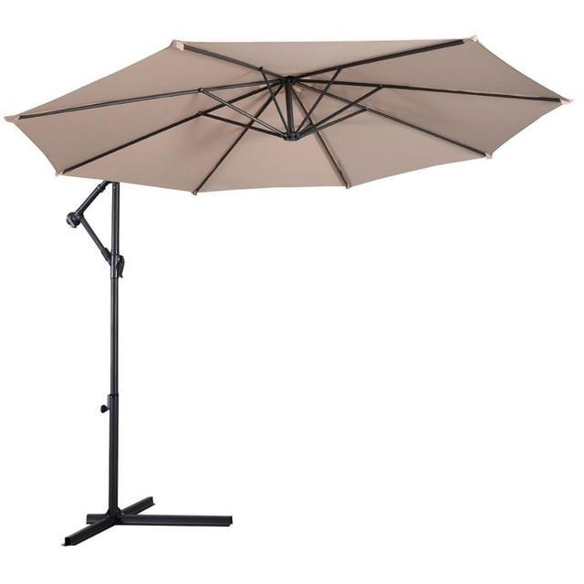 PINkart-USA United States / OP2808BE 10' Hanging Umbrella Patio Sun Shade Offset Outdoor Market W/T Cross Base Outdoor Furniture Op2808