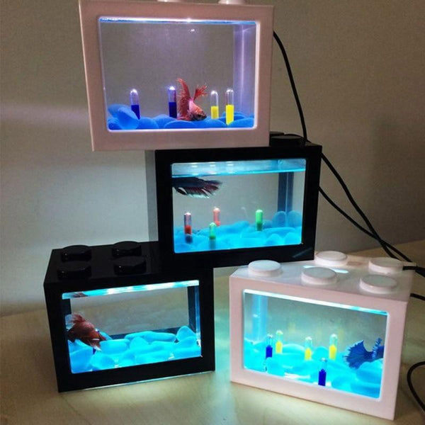PINkart-USA Usb Mini Fighting Fish Box Aquarium Led Transparent Acrylic Fish Tank Office Desktop Decoration