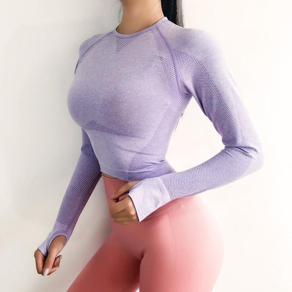 PINkart-USA Vital Energy Seamless Long Sleeve Crop Top Shirts For Women Thumb Hole Yoga Shirt Fitted Gym Top