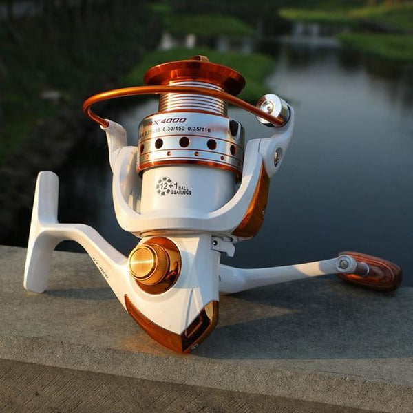 PINkart-USA White / 13 / 4000 Series, China Spinning Fishing Reel 12Bb + 1 Bearing Balls 500-9000 Series Metal Coil Spinning Reel Boat Rock
