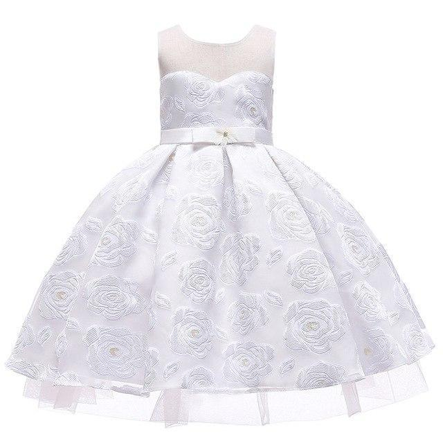PINkart-USA White / 3T Kids Girls Flower Dresses Christmas Party Dress 2 3 4 5 6 7 8 9 10 Year Birthday Outfits Dresses