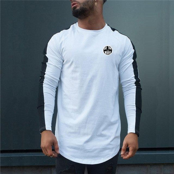PINkart-USA white black / L Men Spring Fashion Casual T Shirt Crossfit Fitness Bodybuilding Muscle Male Long Sleeves Slim Fit