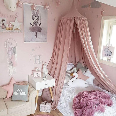 PINkart-USA White Grey Pink Beige Boys Girls Kids Princess Canopy Bed Valance Kids Room Decoration Baby Bed