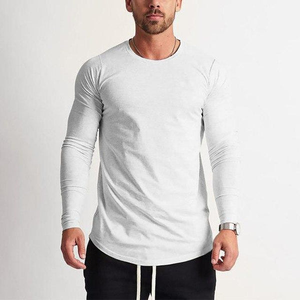 PINkart-USA White / L Fashion Long Sleeve T Shirt Men Sporting T-Shirt Men Fitness Crossfit Men'S Solid O-Neck Gyms