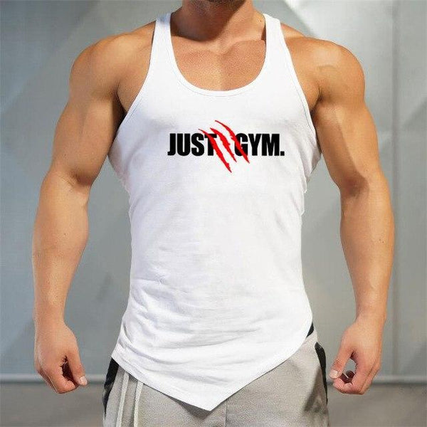 PINkart-USA White / L Men Bodybuilding Tank Tops Gyms Sleeveless Shirts Fitness Clothing Singlet Cotton Summer Fashion