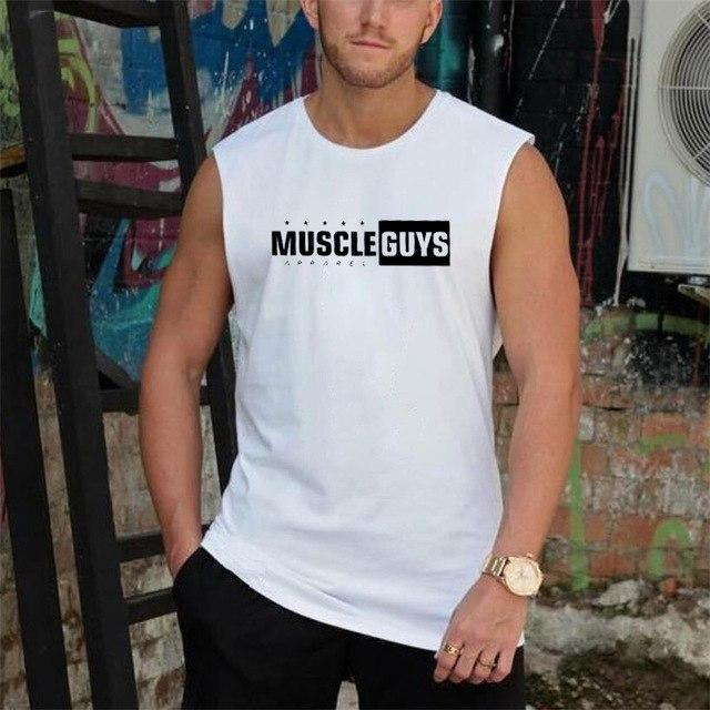 PINkart-USA White / L Muscle Guys Men'S Vest Canotte Bodybuilding Mens Gyms Vest Fitness Sleeveless Shirt Tank Muscle Man