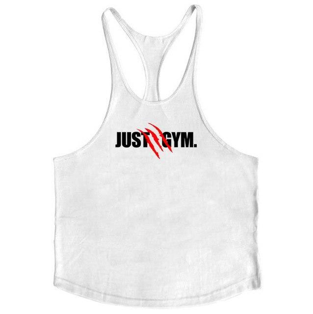 PINkart-USA White / L Summer Mens Just Gyms Tank Top Bodybuilding Cotton Sleeveless Fitness Vest Muscle Male Fashion