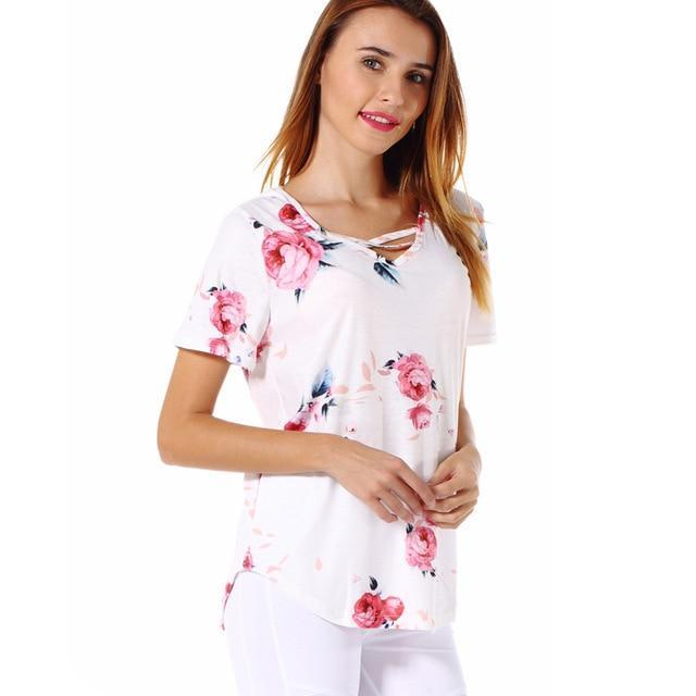 PINkart-USA white / S / China Est Flowers Print Women T Shirts High Quality Short Sleeve Tops Tees Front Cross V-Neck Women