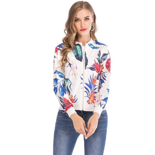 PINkart-USA white / S / China Ladies Ribbed Trim Flower Print Bomber Jacket Women Autumn Printing Long Sleeve Casual Tops