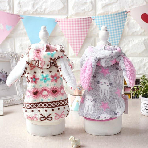 PINkart-USA White / XS Cute Big Ear Halloween Dog Puppy Rabbit Costume Clothing Winter Warm Fleece Small Dog Pet Cat