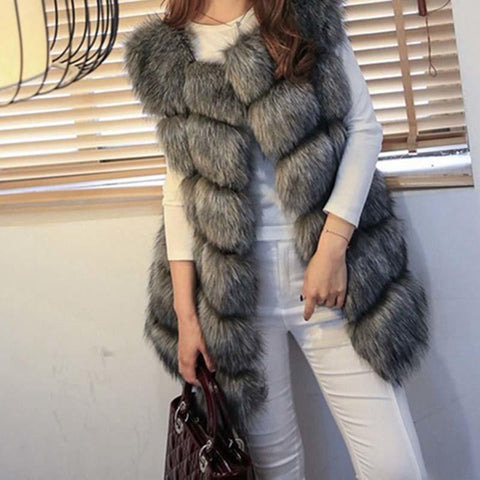 PINkart-USA white / XXL Women'S Fur Coat Faux Fur V Female Jacket Winter Fashion Warm Causual Fur Gilet Winter Woman Coat