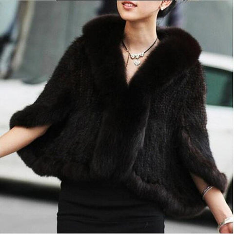 PINkart-USA Wine / ONE SIZE Winter Women'S Genuine Knitted Mink Fur Shawls With Fox Fur Collar Capes Bat Sleeve Bridal Wraps