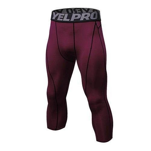 PINkart-USA wine red / L Mens Compression Tights 3/4 Pants Sports Tight Fitness Running Basketball Trouser Jogging