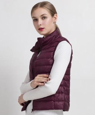 PINkart-USA Wine red / S Women Vs Winter Ultra Light White Duck Down V Female Slim Sleeveless Jacket Women'S Windproof