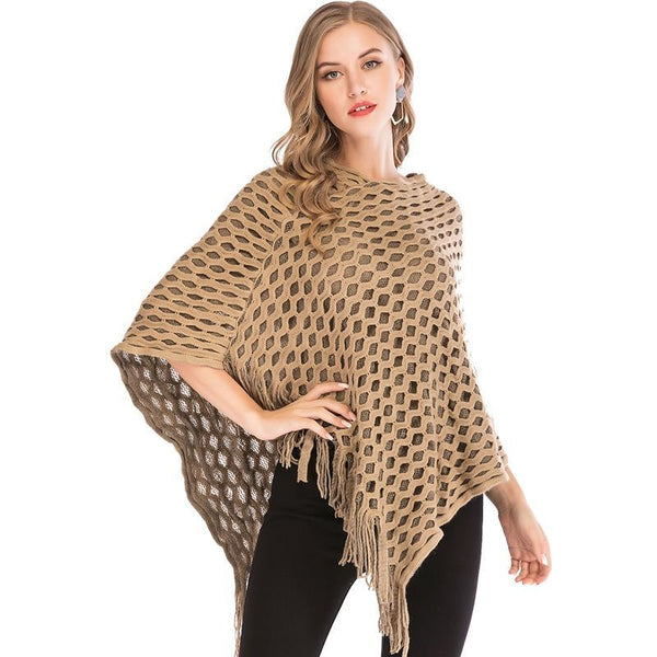 PINkart-USA Women Knitted Shawl Tassel Sweater Oversized Cape Poncho Winter Autumn Loose Sweaters Pullover