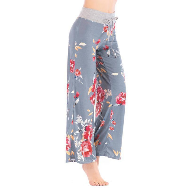 PINkart-USA Women Loose Floral Print 2018 Wide Leg Pants Loose Mid Waist Straight Trousers Long Female Trousers Fashion Sweatpants